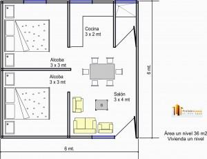 Casa Prefabricada 36 mts2