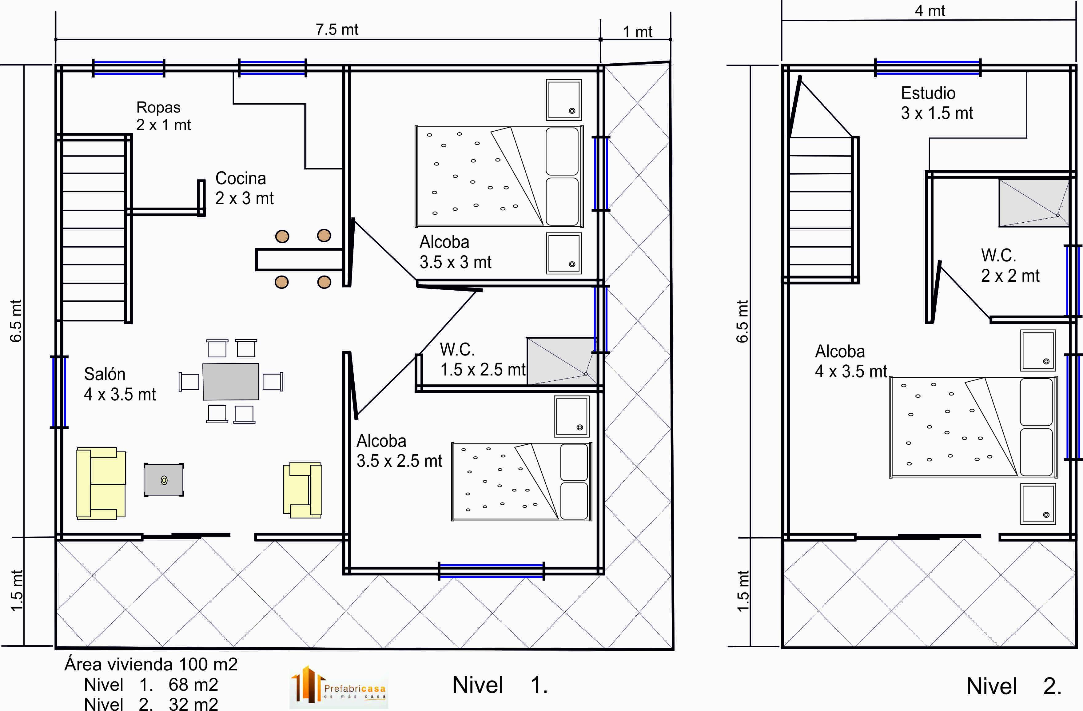 diseños casas prefabricadas 100 mts2 - casas prefabricadas