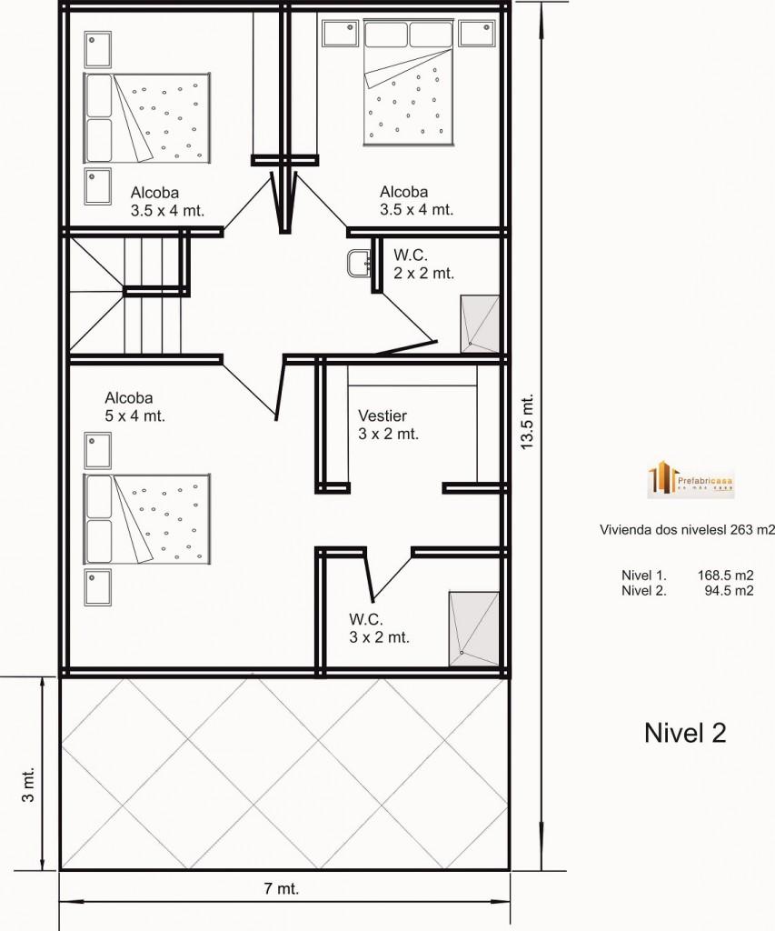 Dise o de casas prefabricadas 263 mts 2 casas for Diseno de casa de 5 x 10