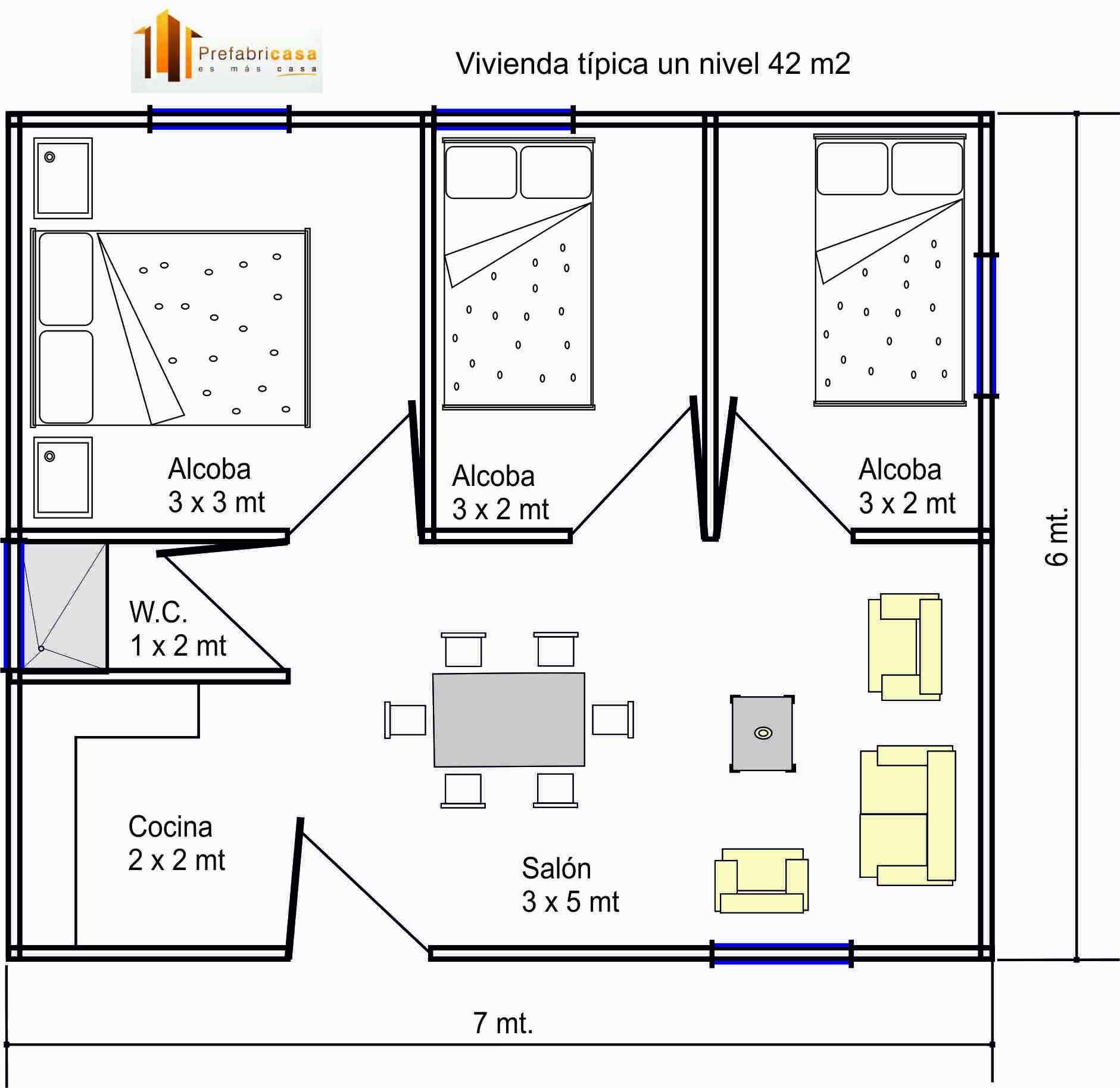 Casas prefabricadas 42 mts 2 casas prefabricadas for Disenos y planos de casas prefabricadas