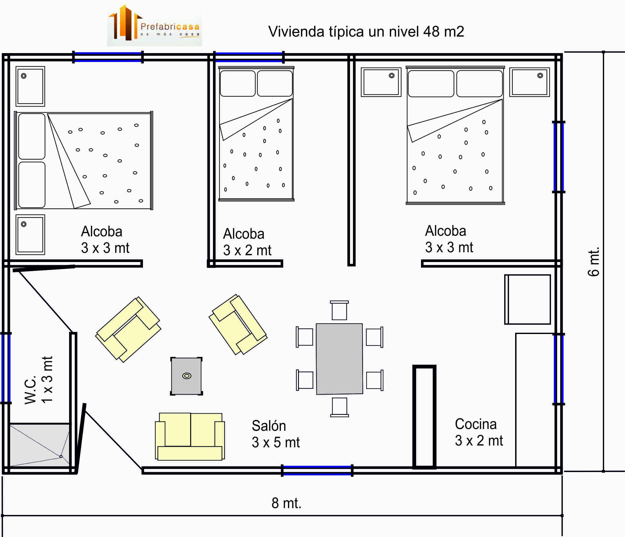 Casas prefabricadas 48 mts 2 for Modelos planos de casas para construir