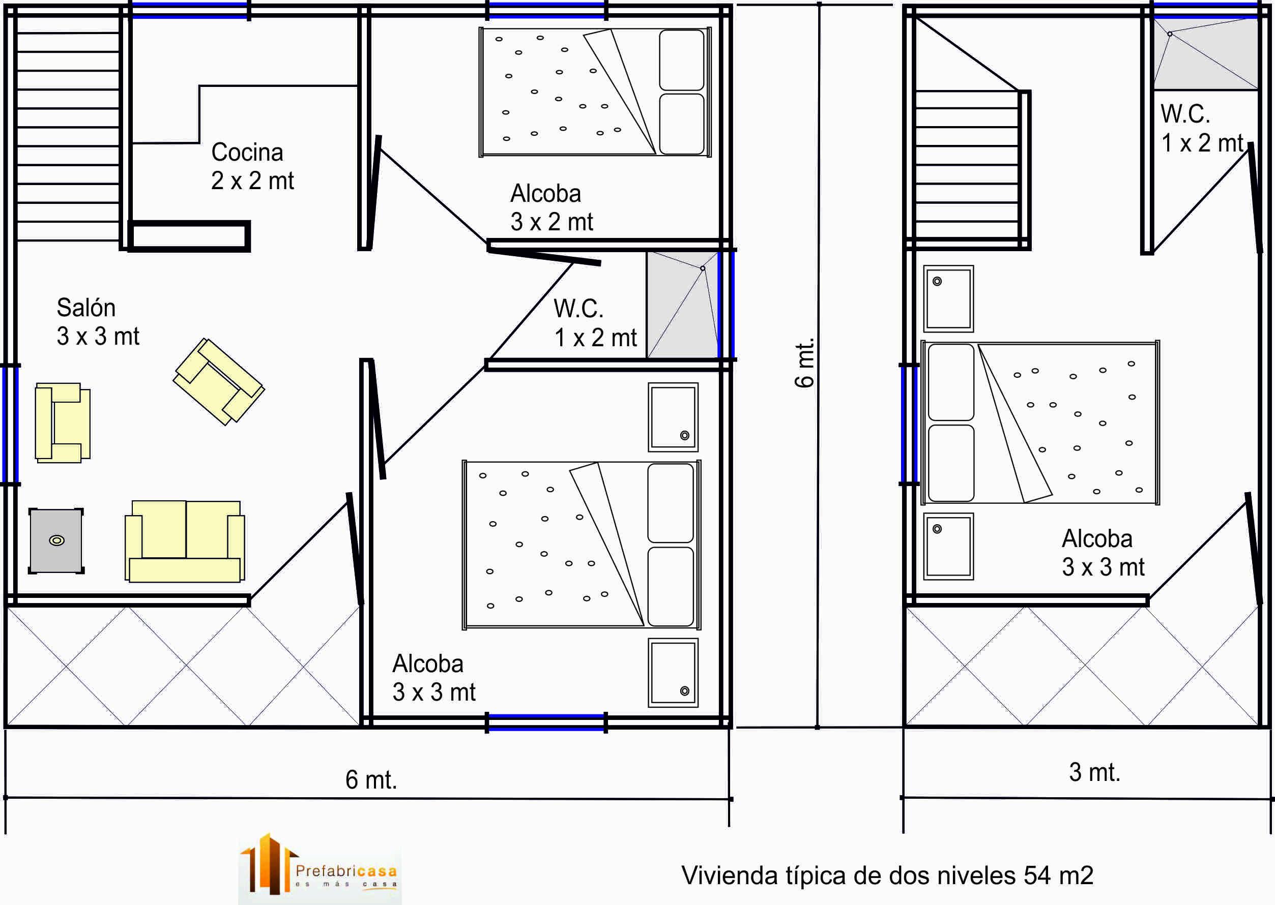 casas prefabricadas 54 mts 2 - casas prefabricadas | prefabricasa