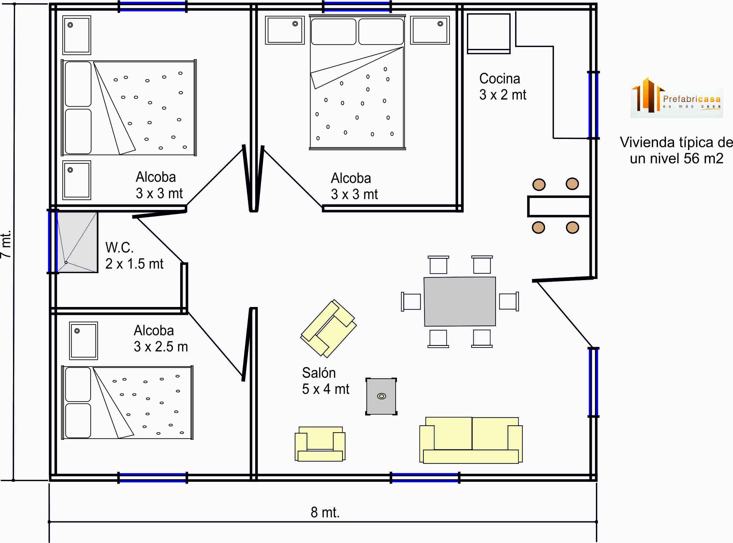 planos de casas de dos pisos 7x8