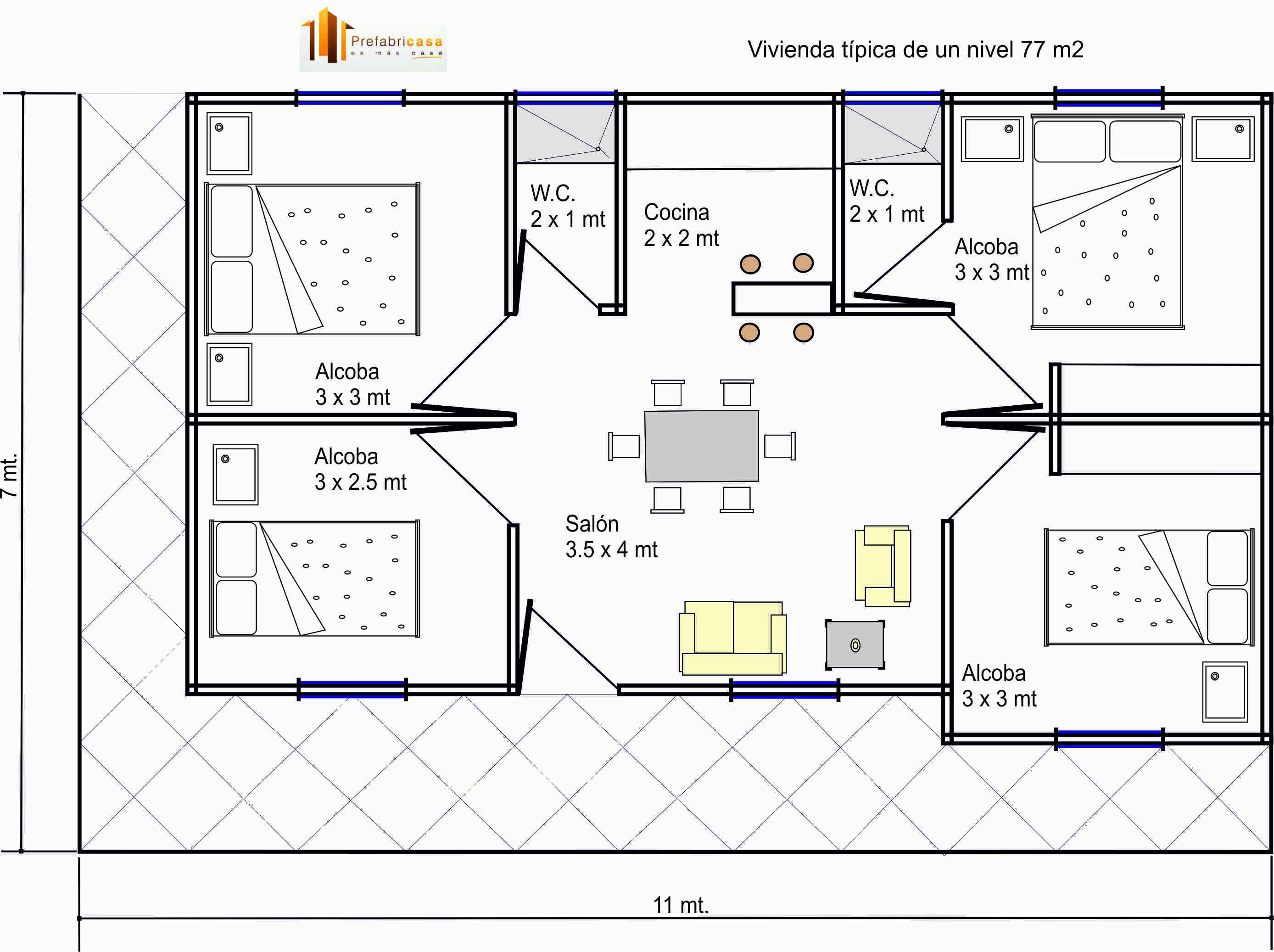 Dise os casas prefabricadas 77 mts2 casas prefabricadas for Planos de casas economicas de 3 dormitorios