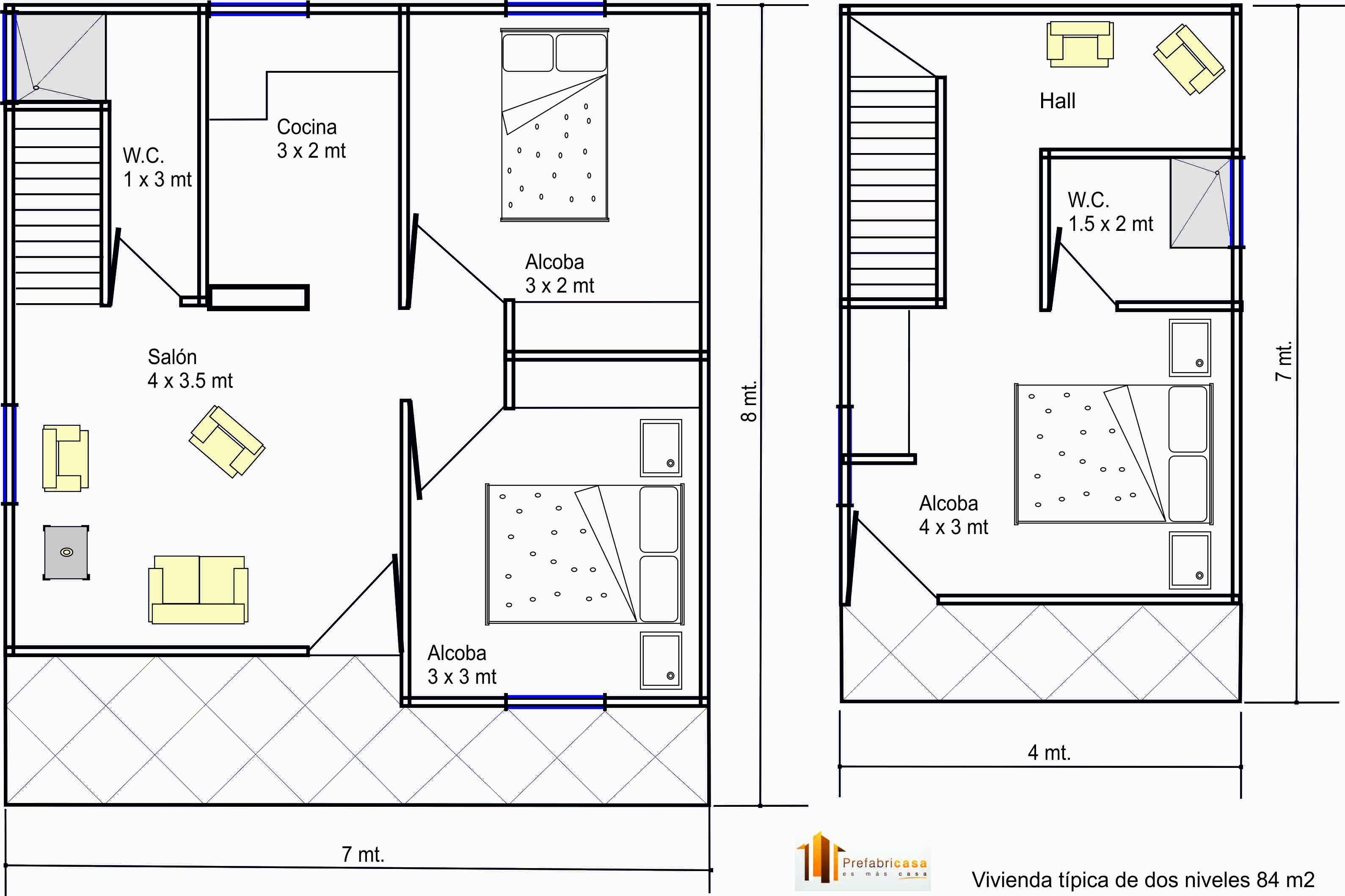 Dise os casas prefabricadas 84 mts 2 casas prefabricadas for Disenos y planos de casas prefabricadas